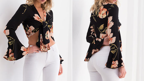 BLACK FLORAL CROPPED TOP WITH FLARE SLEEVE - B ANN'S BOUTIQUE