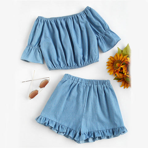 CHASE THE BLUES AWAY RUFFLED SHORTS SET - B ANN'S BOUTIQUE
