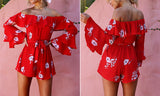 RED FLOWER POWER RUFFLED ROMPER - B ANN'S BOUTIQUE