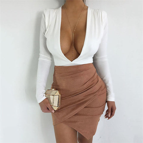 ASYMMETRICAL SUEDE MINI-SKIRT - B ANN'S BOUTIQUE