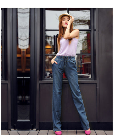 FLARED DRAWSTING DENIM PANTS - B ANN'S BOUTIQUE