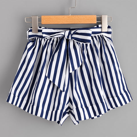 BLUE & WHITE STRIPED SHORTS - B ANN'S BOUTIQUE