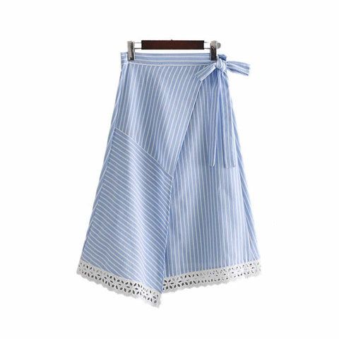 BLUE & WHITE STRIPE IS JUST RIGHT WRAP SKIRT - B ANN'S BOUTIQUE