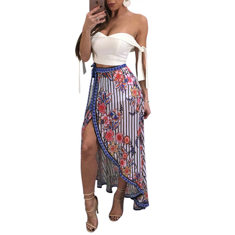 FLORAL STRIPED HIGH SPLIT SKIRT - B ANN'S BOUTIQUE
