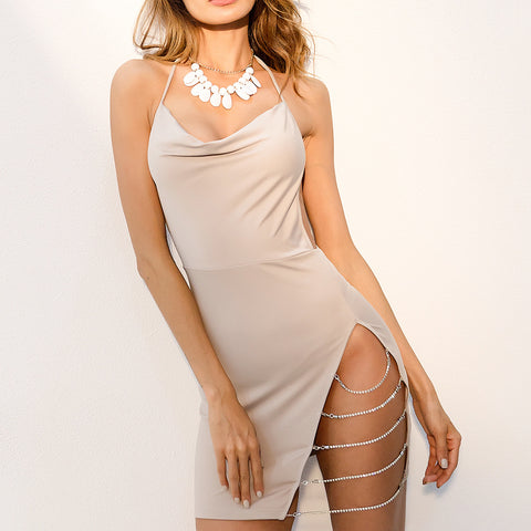 HIGH SLIT WITH SILVER CHAINS CLUB DRESS - B ANN'S BOUTIQUE