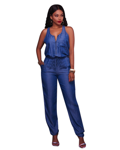 DENIM TANK TOP JUMPSUIT - B ANN'S BOUTIQUE