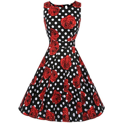 VINTAGE ROSE & POLKA DOT SWING DRESS - B ANN'S BOUTIQUE