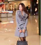 DOUBLE-BREASTED WOOL COAT WITH FUR COLLAR - B ANN'S BOUTIQUE