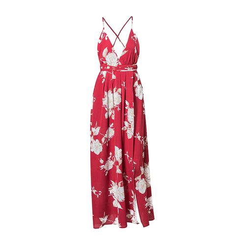 RED FLORAL MAXI WRAP DRESS - B ANN'S BOUTIQUE