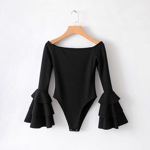 TIER RUFFLE SLEEVE BODYSUIT - B ANN'S BOUTIQUE