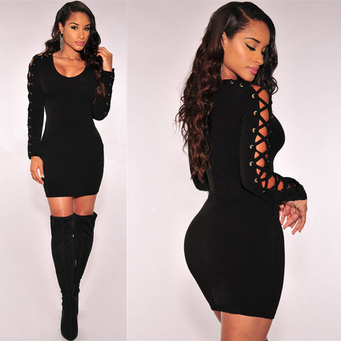 LITTLE BLACK DRESS WITH LACE-UP SLEEVES - B ANN'S BOUTIQUE