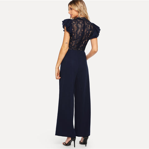 NAVY NIGHTS LACE BACK JUMPSUIT - B ANN'S BOUTIQUE