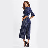 NAVY DOTS ANKLE PANTS JUMPSUIT - B ANN'S BOUTIQUE