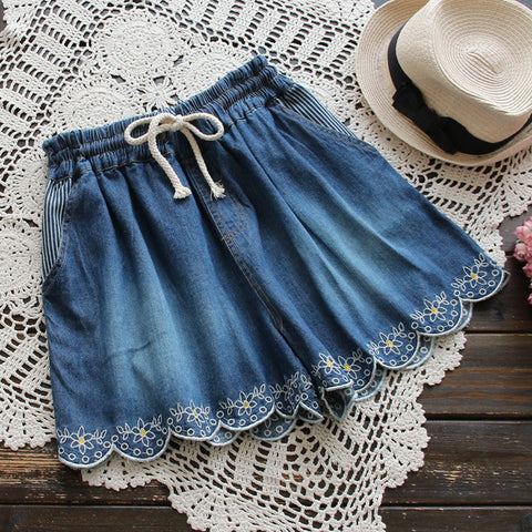 FLORAL EMBROIDERED DRAWSTRING DENIM SHORTS - B ANN'S BOUTIQUE