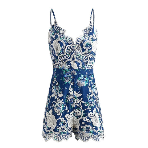 LACE EMBROIDERED FLORAL ROMPER - B ANN'S BOUTIQUE