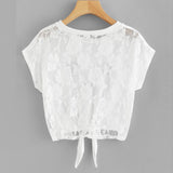 KITTEN FACE & LOTS OF LACE CROPPED TOP - B ANN'S BOUTIQUE