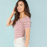 PINK STRIPED CROSS IT OFF TOP - B ANN'S BOUTIQUE