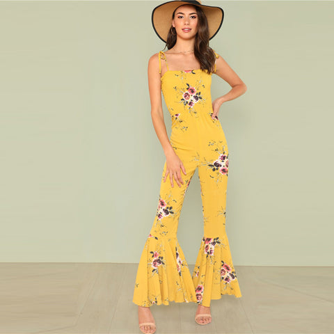 SUNNY SKIES & FLORAL FIELDS RUFFLED JUMPSUIT