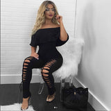 OFF-THE-SHOULDER LACE-UP JUMPSUIT - B ANN'S BOUTIQUE