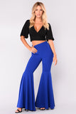 HIGH RUFFLED FITTED FLARE PANTS - B ANN'S BOUTIQUE