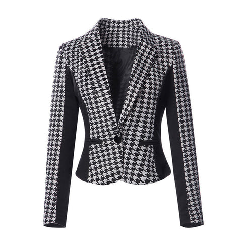 HOUNDSTOOTH FITTED BLAZER - B ANN'S BOUTIQUE