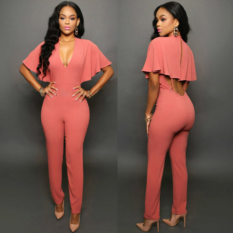 CAPED BACKLESS JUMPSUIT - B ANN'S BOUTIQUE