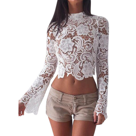 LACE CROP FLARE SLEEVE - B ANN'S BOUTIQUE
