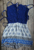BLUE LACE-UP ROMPER - B ANN'S BOUTIQUE