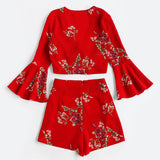 RED FLORAL FLARE SLEEVE LACE-UP SHORTS SET - B ANN'S BOUTIQUE
