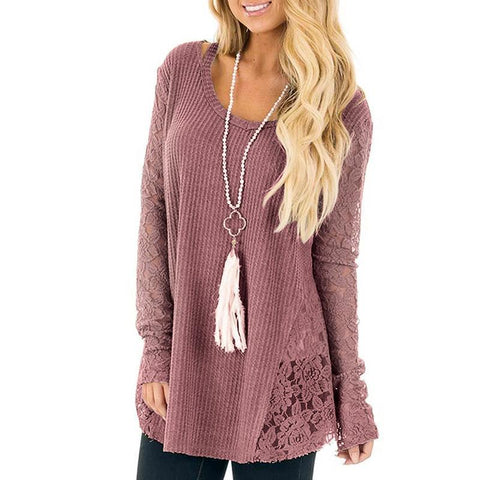 PULLOVER SWEATER WITH LACE SIDE INSERTS - B ANN'S BOUTIQUE
