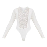 LONG SLEEVE LACE CROTCHET LACE-UP BODYSUIT - B ANN'S BOUTIQUE