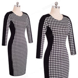 HOUNDSTOOTH LONG SLEEVE SHEATH DRESS - B ANN'S BOUTIQUE