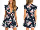 FLORAL V-NECK MINI WITH FRONT BOW - B ANN'S BOUTIQUE
