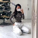 LEOPARD PRINT MOCK TURTLENECK LONG SLEEVE BODYSUIT - B ANN'S BOUTIQUE