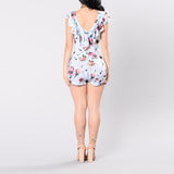 FLORAL FITTED LACE-UP ROMPER - B ANN'S BOUTIQUE