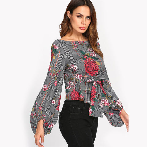 HOLLY'S HOUNDSTOOTH FLORAL LANTERN SLEEVE TOP - B ANN'S BOUTIQUE