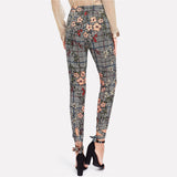 HOLLY'S HOUNDSTOOTH FLORAL ANKLE PANTS - B ANN'S BOUTIQUE