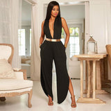 DEEP V - OPEN LEG JUMPSUIT - B ANN'S BOUTIQUE