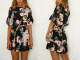 FLORAL RUFFLE MINI DRESS - B ANN'S BOUTIQUE