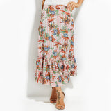RUFFLE ME RIGHT FLORAL MAXI SKIRT - B ANN'S BOUTIQUE