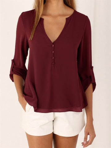 CHIFFON BUTTON-UP V-NECK BLOUSE  WITH 3/4 SLEEVES - B ANN'S BOUTIQUE