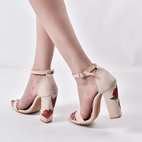 FLORAL HEEL SANDALS - B ANN'S BOUTIQUE