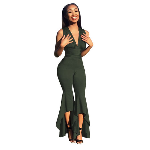 HIGH-LOW HEM FLARE PANTS JUMPSUIT - B ANN'S BOUTIQUE
