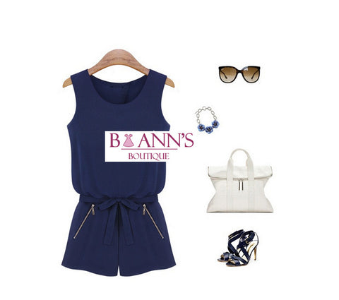 NAVY NIGHTS ROMPER - B ANN'S BOUTIQUE
