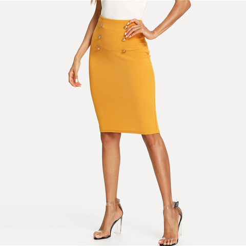 BELLA BUTTON PENCIL SKIRT - B ANN'S BOUTIQUE