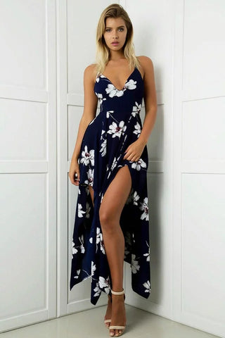 FLORAL HIGH-CUT MAXI DRESS - B ANN'S BOUTIQUE