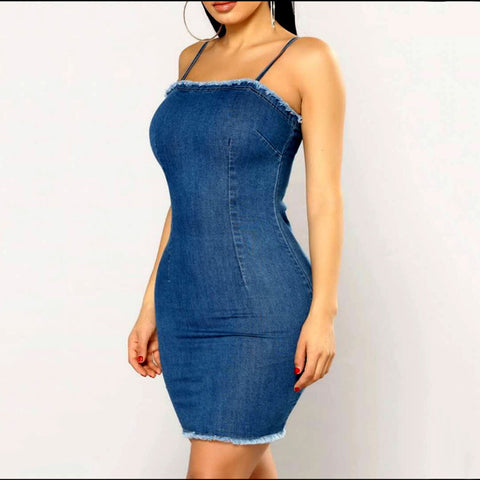 FITTED & FAB DENIM DRESS - B ANN'S BOUTIQUE
