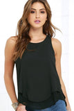 CRISSCROSS BACK SLIT SLEEVELESS TOP - B ANN'S BOUTIQUE