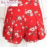 RED RUFFLE FLOWER POWER ROMPER - B ANN'S BOUTIQUE