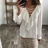 CHIFFON RUFFLED COLLAR LACE-UP TOP - B ANN'S BOUTIQUE